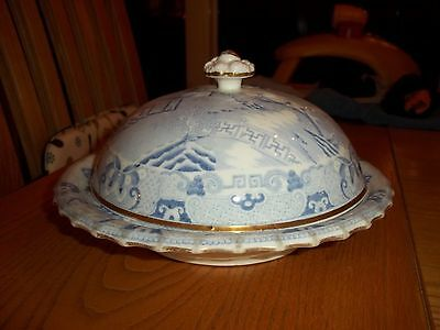 POSS.19th CENTURY MUFFIN DISH - CHINOISERIE PATTERN - BLUE AND WHITE - SUPERB