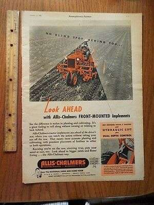 1946 Allis Chalmers Implements Tractor Vintage Magazine Ad G