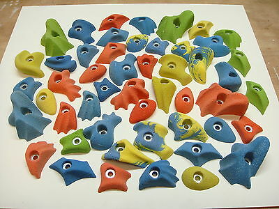 50x MIX COLOUR  BOLT-ON ROCK CLIMBING WALL HOLDS SET INC FIXINGS
