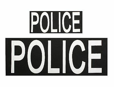 'POLICE' Patches w/ Hook Back - 1 Large and 1 Small Vest Jacket Patch