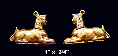 Vintage Brass Stamping / Embossed Sphinx Profile /Egyptian Revival / 2 pc.lot