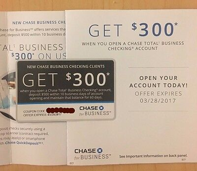 Chase $300 Total Business Checking Account Coupon Expires 3.28.2017