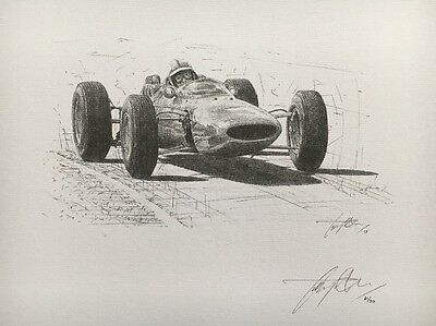 John Surtees 1964 World Champion Hand Signed Limited Edition F1 Sketched Print