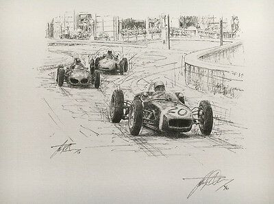 Stirling Moss 1961 Monaco GP Hand Signed Limited Edition F1 Sketched Print