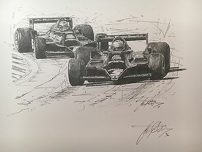 Mario Andretti 1978 World Champion Hand Signed Limited Edition F1 Sketched Print