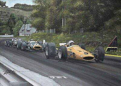 Bruce McLaren 1968 Belgian Grand Prix Hand Signed Limited Edition F1 Print