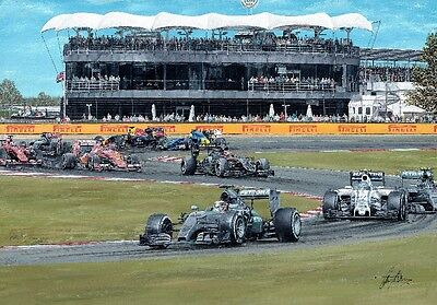 Lewis Hamilton 2015 British Grand Prix Hand Signed Limited Edition F1 Print