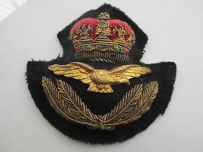 RAF Officer's Cap Badge. Bullion Embroidered with Gilded concave Eagle. DEEP.