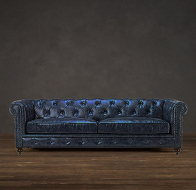 New Restoration Chesterfield English Industrial Nail Heads Hardware Leather Sofa