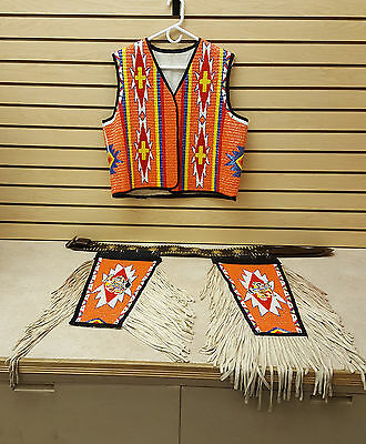 Hand Crafted Cut Beaded Native American Indian Vest,side Drags,&concho Belt Set