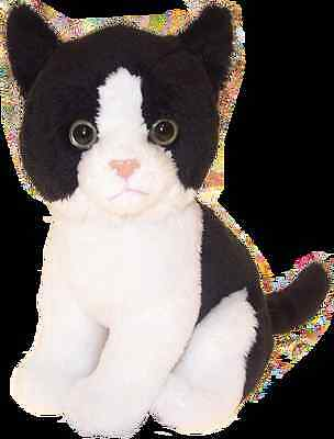 """Cat black and white  6.5"""" soft toy by Faithful Friends new"""