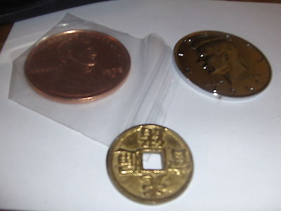 2 GIANT   3 inch Coins 1 chrome plated and 2 inch Chinese coin