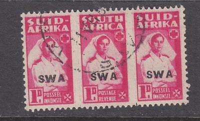 SOUTH WEST AFRICA, 1943 Bantam, 1d. Bright Carmine, triplet, used.