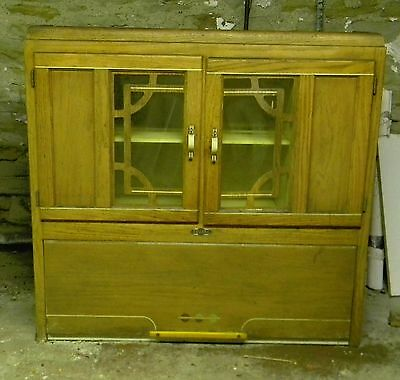 vintage, 1940's Kitchen hutch/cabinet, natural wood finish, painted interior
