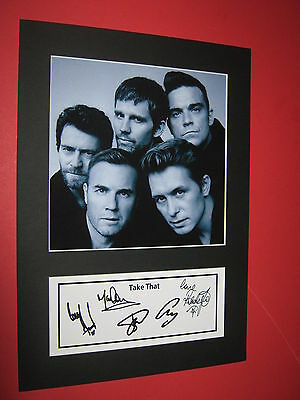 Take That A4 Photo Mount Signed Printed Autograph Gary Barlow Robbie Williams