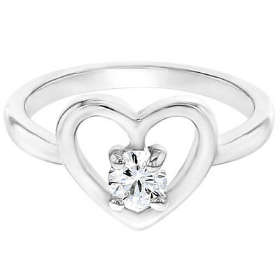 Rhodium Plated White Clear Crystal Heart Love Girl Baby Rings