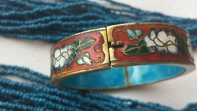 ANTIQUE CHINESE EXPORT ENAMEL Cloisonne  BRACELET SEED COURT STRAND NECKLACE
