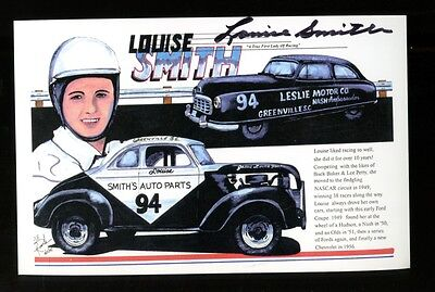 Louise Smith Signed Promo Print Autographed NASCAR First Lady of Racing 30030