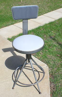 Vintage Metal Industrial Adjustable Drafting Chair Swivel Stool Machine Age Shop