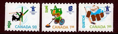 xca. OLYMPIC Vancouver 2010 COIL Die Cut Set of 3 Canada 2009 MNH #2308ii-10ii