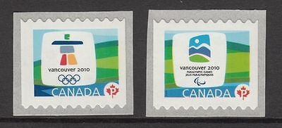 xca. OLYMPIC Vancouver 2010 EMBLEMS LARGE coil pair MNH Canada 2009 #2306-07