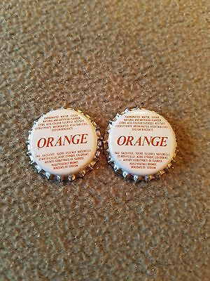 2 Vintage Orange Soda Bottle Caps  - Unused - New - Plastic Lined -  Lot # D 7
