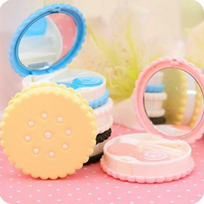 Container Mirror Travel Contact Lens Box Cookies Shape Holder