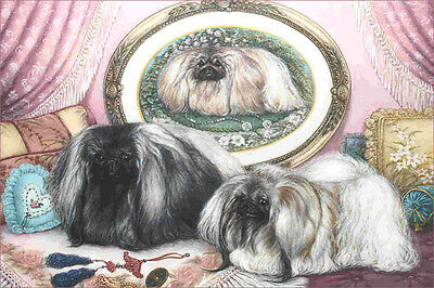 Beautiful Silver & Black Victorian Pekingese Dogs - LARGE New Blank Note Cards