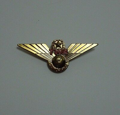 Vintage 1950-60s TWA Airlines Airline Junior Pilot Airplane Wings Pin Globe Star