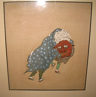 Antique Original 19th Century Japanese Foo Lion Dancers Gouche on Silk Painting