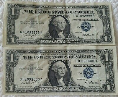Lot Of 2 1957 $1 Silver Certificate Consecutive Serial Number Notes