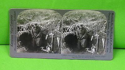Vintage Keystone Stereo-view Card of WWI Camouflaged French Trenches