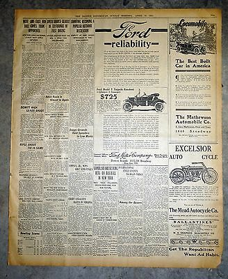1911 Ford Model T Newspaper Ad - Ford Reliability + Excelsior Auto Cycle Ad
