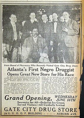 1914 Georgia Newspaper Page - Atlanta's First Negro Owned Drug Store Gate City