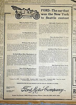 1909 Ford Model T Newspaper Ad - The Car That Won New York To Seattle Contest