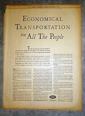 """1929 Full Page Ford Model """"A"""" Newspaper Ad - Economical Transportation"""