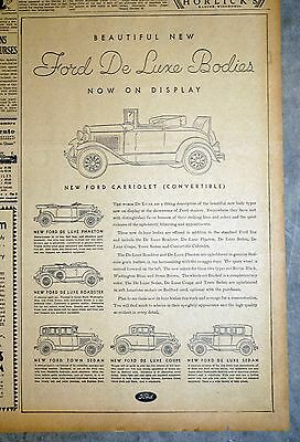 1930 Ford Model A San Francisco Chronicle Newspaper Ad - DeLuxe Bodies