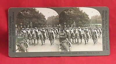 Vintage Keystone Stereoview Card of 40 WW I French Colonial Cavalry