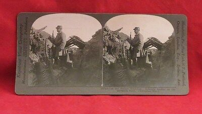 Vintage Keystone Stereoview Card of WW I French Soldier in Trench