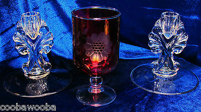 """1940/50s  Hughes Cornflower Etched Cranberry Flash Goblet 6"""" & 2 Janice Candles"""