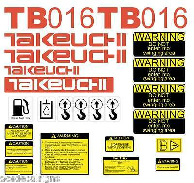 TB016 Decals TB016 Stickers Mini Excavator repro Takeuchi Decal Set stickers kit