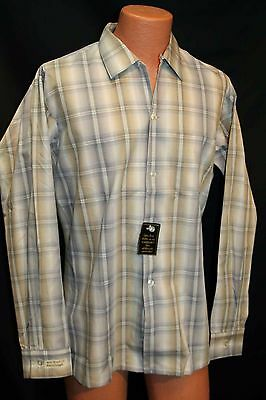 L 35 Tan Shadow Plaid NOS Sanforized Vtg 50s 60s Arrow Rockabilly Loop Men Shirt