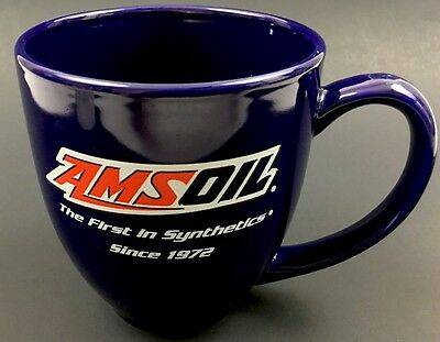 AMSOIL Coffee Mug Cup Cobalt Blue Car Oil Collectible Merchandise