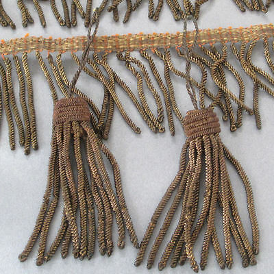 "Antique French Gold Metallic BULLION Coiled FRINGE Trim 2""W X 38"" + 2 TASSELS"