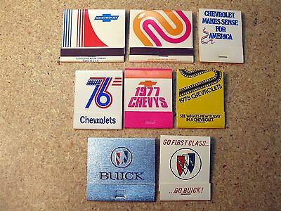 1970's Dealers Chevrolet & Buick 8 Full Matchbooks Jerome ID Idaho Mint 76 77 78