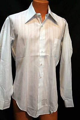L 16 1/2 35 Long Sleeve MENS White Tone on Tone NOS Vtg 70s Arrow Dress Shirt