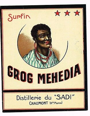 1930s France Morocco Surfin Grog Mehedia Chaumont Rum Label Tavern Trove