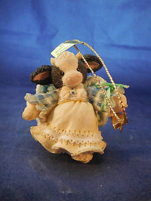 """Marys Moo Moo Angel With Bell Ornament 2 1/2"""" Resin"""
