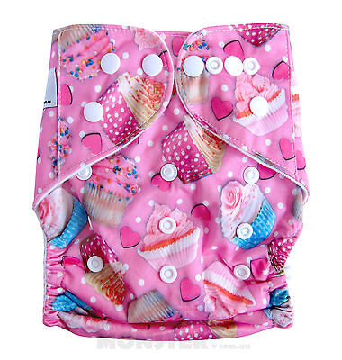Modern Reusable Washable Baby Cloth Nappy Cloth Diapers  & Insert, Pink Cupcakes