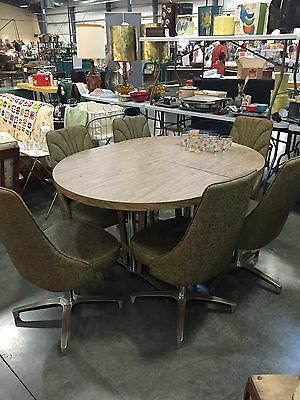 Vintage Retro Chromecraft Dining Set Table 6 Chairs mid-century With Leaf